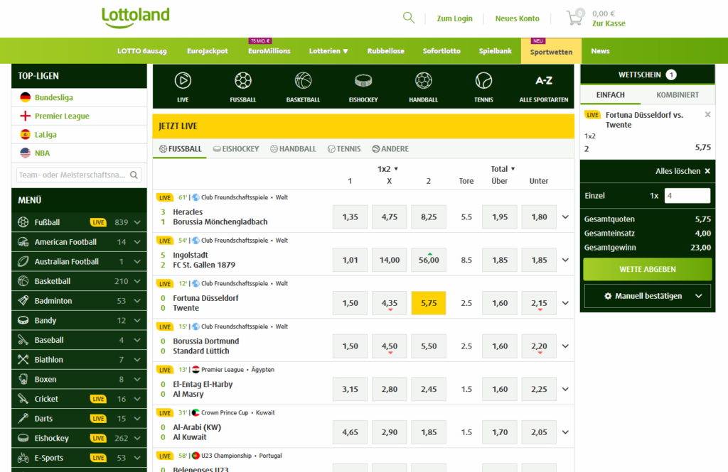 Lottoland Sportwetten Screenshot