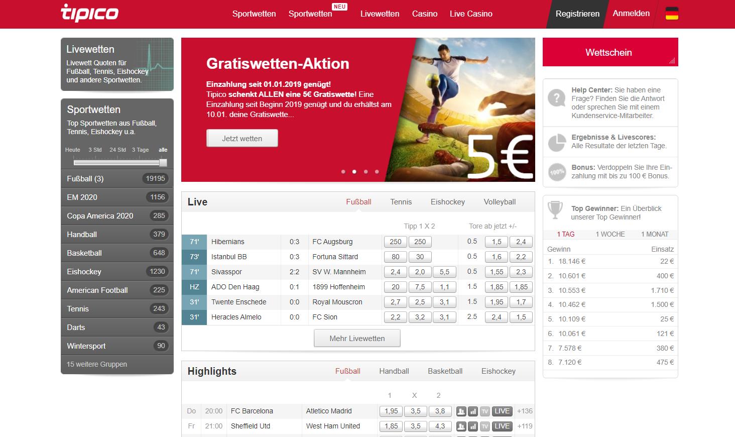 Tipico: Jetzt einzahlen und 5€ Gratiswette sichern
